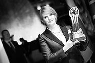 "MONTE CARLO, MONACO - JUNE 10:  (Editors note: Color Picture converted to B & W)  Natalya Kaspersky- CEO of InfoWatch receives award for ""EY Entrepreneur of the Year"" for Russia on June 10, 2017 at the Salle des Etoiles in Monte Carlo, Monaco.  (Photo by Tony Barson/Getty Images)"