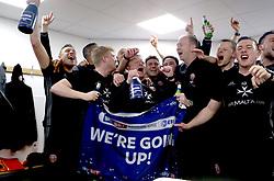 Free to use courtesy of Sky Bet - Sheffield United manager Chris Wilder celebrates winning promotion to Sky Bet Championship with his coaching staff - Mandatory by-line: Robbie Stephenson/JMP - 08/04/2017 - FOOTBALL - Sixfields Stadium - Northampton, England - Northampton Town v Sheffield United - Sky Bet League One