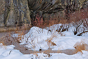 Frozen creek by rock cliff. Ingulf Road<br />