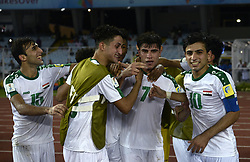 October 11, 2017 - Kolkata, West Bengal, India - Iraq footballer celebrates their goal during the FIFA U 17 World Cup India 2017 Group F match in Kolkata. Player of Iraq and Chile in action during the FIFA U 17 World Cup India 2017 Group F match on October 11, 2017 in Kolkata. (Credit Image: © Saikat Paul/Pacific Press via ZUMA Wire)