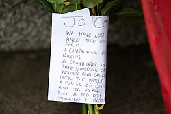 © Licensed to London News Pictures. 17/06/2016. Birstall UK. Flowers at the scene in Birstall market place where MP Jo Cox was murdered yesterday. Photo credit: Andrew McCaren/LNP