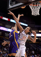 Sep 21, 2013; Phoenix, AZ, USA; Los Angeles Sparks forward Candace Parker (3) is fouled by Phoenix Mercury center Brittney Griner (42) in the second half of Game 2 of a WNBA basketball Western Conference semifinal series at US Airways Center. The Sparks defeated the Mercury 82-73. Mandatory Credit: Jennifer Stewart-USA TODAY Sports