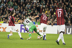 November 8, 2018 - Seville, Spain - SANABRIA of Betis (C) vies for the ball with MATEO MUSSACCHIO of Milan (R) during the Europa League Group F soccer match between Real Betis and AC Milan at the Benito Villamarin Stadium (Credit Image: © Daniel Gonzalez Acuna/ZUMA Wire)