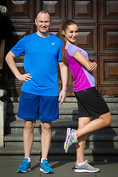 Repro Free: 05/03/2013.Pictured at the launch of the New Balance Gear lending initiative in The Westin Dublin is Andrew Henning, General Manager, The Westin Dublin with model Roz Purcell, who will lead approximately 50 associates, guests and friends of the hotel on a 5k run around the city in aid of children's charity Barretstown. For just ?5, guests of The Westin Dublin can now borrow running shoes with disposable insoles, as well as a variety of men's and women's New Balance apparel, enabling more travellers to stay healthy and fit on the road.  www.thewestindublin.com Picture Andres Poveda.