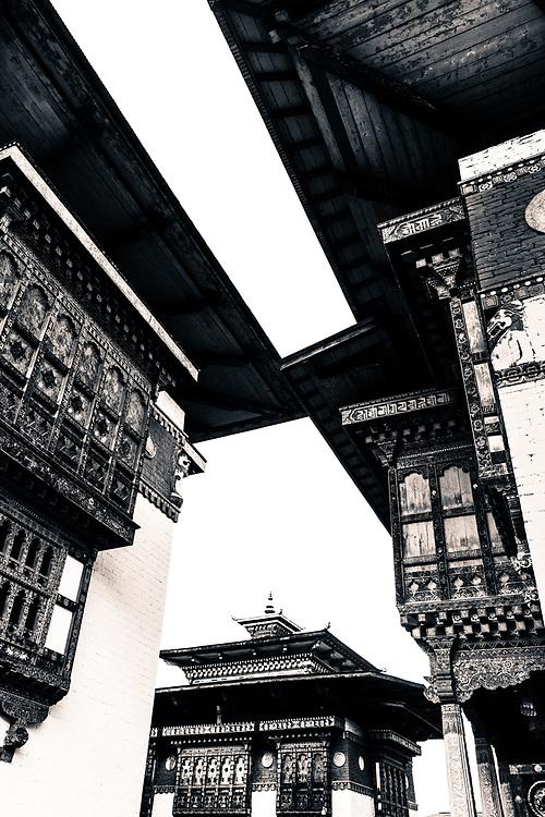 The incredible walls of a Bhutan monastery.