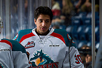 KELOWNA, CANADA - JANUARY 25: Roman Basran #30 of the Kelowna Rockets stands on the bench against the Victoria Royals  on January 25, 2019 at Prospera Place in Kelowna, British Columbia, Canada.  (Photo by Marissa Baecker/Shoot the Breeze)