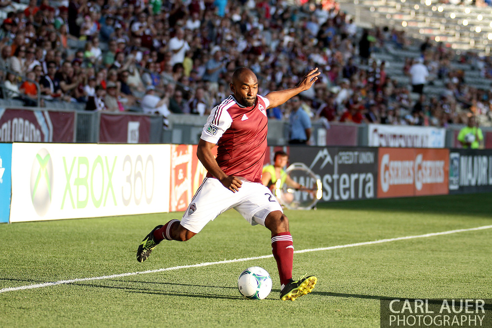 July 17th, 2013 - Colorado Rapids defender Marvell Wynne (22) crosses a pass towards the goal in first half action of the Major League Soccer match between the New England Revolution and the Colorado Rapids at Dick's Sporting Goods Park in Commerce City, CO
