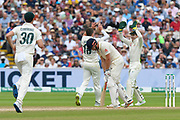 Wicket - Jonny Bairstow of England looks dejected after losing his wicket off the bowling of the celebrating Peter Siddle of Australia during the International Test Match 2019 match between England and Australia at Edgbaston, Birmingham, United Kingdom on 3 August 2019.