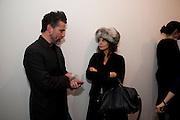 ZACH ROCKHILL; ZOE WOLFF, 'Engagement' exhibition of work by Jennifer Rubell. Stephen Friedman Gallery. London. 7 February 2011. -DO NOT ARCHIVE-© Copyright Photograph by Dafydd Jones. 248 Clapham Rd. London SW9 0PZ. Tel 0207 820 0771. www.dafjones.com.