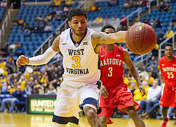 Dec 20, 2016; Morgantown, WV, USA; West Virginia Mountaineers guard James Bolden (3) catches a loose ball during the second half against the Radford Highlanders at WVU Coliseum. Mandatory Credit: Ben Queen-USA TODAY Sports
