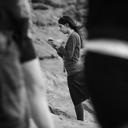 A group of Jewish youth say morning prayers at Arches National Park, Utah Wednesday, Thursday August 6, 2013. (Photo by August Miller)