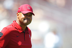 September 3, 2011; Stanford, CA, USA;   Stanford Cardinal head coach David Shaw stands on the field during pregame warm ups before the game against the San Jose State Spartans at Stanford Stadium.