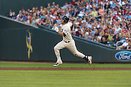 Trevor Plouffe #24 of the Minnesota Twins runs for 2nd base against the Detroit Tigers on June 15, 2013 at Target Field in Minneapolis, Minnesota.  The Twins defeated the Tigers 6 to 3.  Photo: Ben Krause