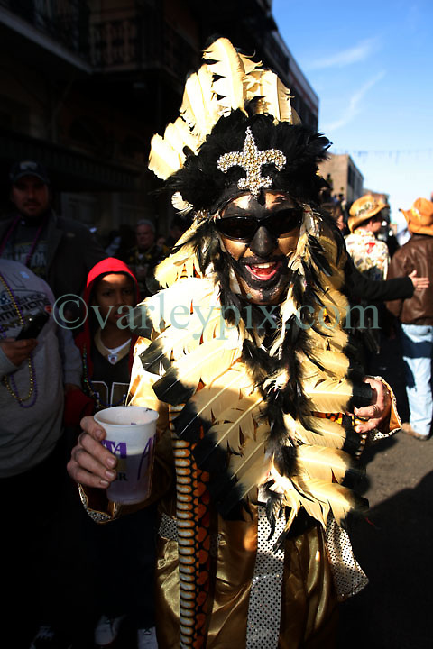 07 February 2010. New Orleans, Louisiana, USA. <br /> Super Bowl XL1V. <br /> Erick Wood. New Orleans Saints fans gather in the French Quarter in anticipation of the big game in Miami later in the day as the home team goes head to head with the Indianapolis Colts for Super Bowl 44. <br /> Photo ©; Charlie Varley/varleypix.com