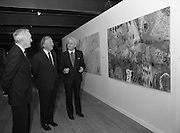 19/08/1988<br /> 08/19/1988<br /> 19 August 1988<br /> Taoiseach visits ROSC '88 at the Guinness Hop Store, Dublin. At the exhibit were: Pat Murphy ROSC Chairman (right);  Taoiseach Charles Haughey (centre) and Mr Brian Slowey, (left) Managing Director, Guinness, Ireland.