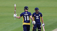 Ben Stokes of Durham County Cricket Club acknowledges the crowd after hitting a half century and is congratulated by Phil Mustard (r) during the Royal London One Day Cup match at Emirates Durham ICG, Chester-le-Street<br /> Picture by Simon Moore/Focus Images Ltd 07807 671782<br /> 06/09/2014