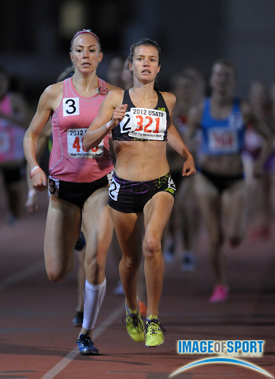 May 18, 2012; Los Angeles, CA, USA; Kim Conley defeats Kate Van Buskirk (CAN) to wins womens 1,500m heat, 4:14.00 to 4:14.13, in the 2012 USATF High Performance meet at Occidental College.