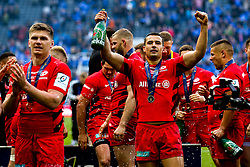 Alex Lozowski of Saracens celebrates after winning the Heineken Champions Cup after beating Leinster Rugby in the Final - Mandatory by-line: Robbie Stephenson/JMP - 11/05/2019 - RUGBY - St James' Park - Newcastle, England - Leinster Rugby v Saracens - Heineken Champions Cup Final