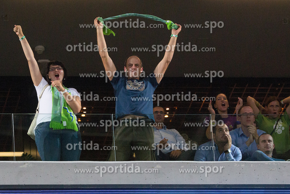 Fans of Slovenia during basketball match between national team of Slovenia and Italy of Eurobasket 2013 on September 12, 2013 in SRC Stozice, Ljubljana, Slovenia. (Photo By Matic Klansek Velej / Sportida.com)