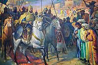 Ouzbekistan, Tashkent, place Tamerlan, Musée Tamerlan, fresque représentant Tamerlan arrivant dans une ville // Uzbekistan, Tashkent, Tamerlan square, Tamerlan museum,  fresco, Tamerlan coming down to the town