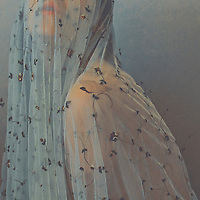 side portrait of woman with veil covering her head with only shoulders and lips visible