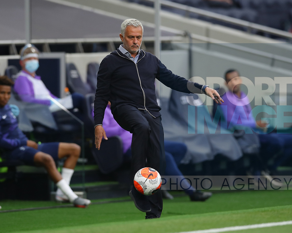 Jose Mourinho manager of Tottenham kicks the ball back into play during the Premier League match at the Tottenham Hotspur Stadium, London. Picture date: 23rd June 2020. Picture credit should read: David Klein/Sportimage