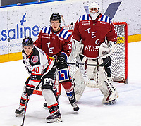 2020-01-11 | Umeå, Sweden:Teg (2) Alexander Popovic defending the own goal and Piteå (40) Magnus Isaksson waiting for a pass in  AllEttan during the game  between Teg and Piteå at A3 Arena ( Photo by: Michael Lundström | Swe Press Photo )<br /> <br /> Keywords: Umeå, Hockey, AllEttan, A3 Arena, Teg, Piteå, mltp200111