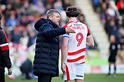 Doncaster Rovers Manager Grant McCann giving orders to Doncaster Rovers forward John Marquis during the EFL Sky Bet League 1 match between Doncaster Rovers and Peterborough United at the Keepmoat Stadium, Doncaster, England on 9 February 2019.