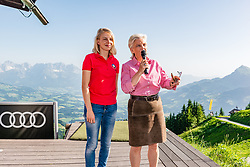 27.06.2019, Starthaus Streif, Kitzbuehel, AUT, FIS Ski Weltcup, Herren, Praesentation des Hahnenkamm Plakats 2020, im Bild v.l. Viktoria Veider-Walser (Geschäftsführerin Kitzbühel Tourismus), Signe Reisch (Präsidentin Kitzbühel Tourismus) // f.l. Viktoria Veider-Walser Managing Director Kitzbühel Tourism and Viktoria Veider-Walser Managing Director Kitzbühel Tourism during the Presentation of the Hahnenkamm poster 2020 at the Starthaus Streif in Kitzbuehel, Austria on 2019/06/27. EXPA Pictures © 2019, PhotoCredit: EXPA/ Stefan Adelsberger