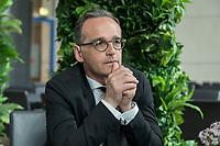 15 MAY 2019, BERLIN/GERMANY:<br /> Heiko Maas, SPD, Bundesaussenminister, waehrend einem Interview, Restaurant des Deutschen Bundestages, Reichstagsgebaeude<br /> IMAGE: 20190515-01-001