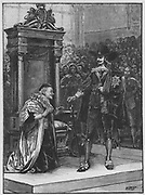 Charles I demanding the surrender of the five Members of Parliament (John Hampden, John Pym, Sir Arthur Hasilrigge, Denzil Holles and William Strode) 4 January 1642.  The Speaker, William Lenthall (1591-1662) kneels before the king  saying he has not seen the wanted man. Engraving c1885.