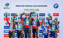 Lisa Theresa Hauser (AUT), Simon Eder (AUT), Thekla Brun-Lie (NOR), Lars Helge Birkeland (NOR), Anastasiya Merkushyna (UKR) and Artem Tyshchenko (UKR) during Single Mixed Relay at day 1 of IBU Biathlon World Cup 2018/19 Pokljuka, on December 2, 2018 in Rudno polje, Pokljuka, Pokljuka, Slovenia. Photo by Ziga Zupan / Sportida