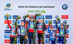 Lisa Theresa Hauser (AUT), Simon Eder (AUT), Thekla Brun-Lie (NOR), Lars Helge Birkeland (NOR), Anastasiya Merkushyna (UKR) and Artem Tyshchenko (UKR) during Single Mixed Relay at day 1 of IBU Biathlon World Cup 2018/19 Pokljuka, on December 2, 2018 in Rudno polje, Pokljuka, Pokljuka, Slovenia. Photo by Ziga Zupan / Sportida