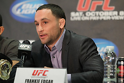 October 5, 2011; Houston, TX.; USA;  UFC Lightweight Champion Frankie Edgar speaks at the final press conference for his fight against Gray Maynard at UFC 136.