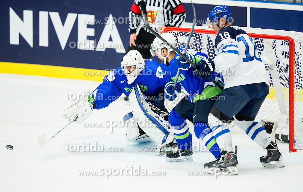Gasper Kroselj of Slovenia, Mitja Robar of Slovenia and Aleksander Barkov of Finland during Ice Hockey match between Finland and Slovenia at Day 7 in Group B of 2015 IIHF World Championship, on May 7, 2015 in CEZ Arena, Ostrava, Czech Republic. Photo by Vid Ponikvar / Sportida