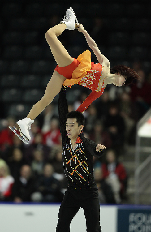 20101029- Kingston, Ontario,Canada--  Huibo Dong and Yiming Wu skate their short program in the pairs competition at Skate Canada International in Kingston, Ontario, October 29, 2010.<br /> AFP PHOTO/Geoff Robins