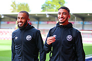 Brentford forward Saïd Benrahma (10) and Brentford forward Bryan Mbuemo (19) arrive at the stadium ahead of the EFL Sky Bet Championship match between Brentford and Derby County at Griffin Park, London, England on 31 August 2019.