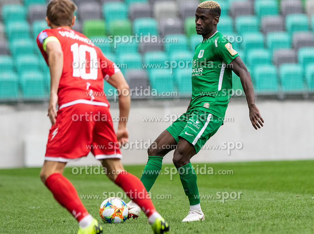 Bagnack Mouegni Macky of NK Olimpija Ljubljana vs Vrbanec Matic of NK Aluminij during football match between NK Olimpija Ljubljana and NK Aluminij in Round #27 of Prva liga Telekom Slovenije 2018/19, on April 14th, 2019 in Stadium Stozice, Slovenia Photo by Matic Ritonja / Sportida