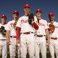 Feb 23, 2011 -- Clearwater, FL, U.S.A. -- Philadelphia Phillies pitching staff - Cliff Lee, Roy Oswalt, Roy Halladay, Joe Stanton and Cole Hamels -- ..Photo by Preston C. Mack, Freelance.