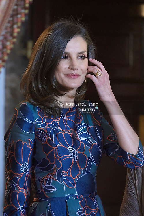 Queen Letizia of Spain attend an official lunch for 'Miguel de Cervantes 2019' award at Royal Palace on April 24, 2019 in Madrid, Spain