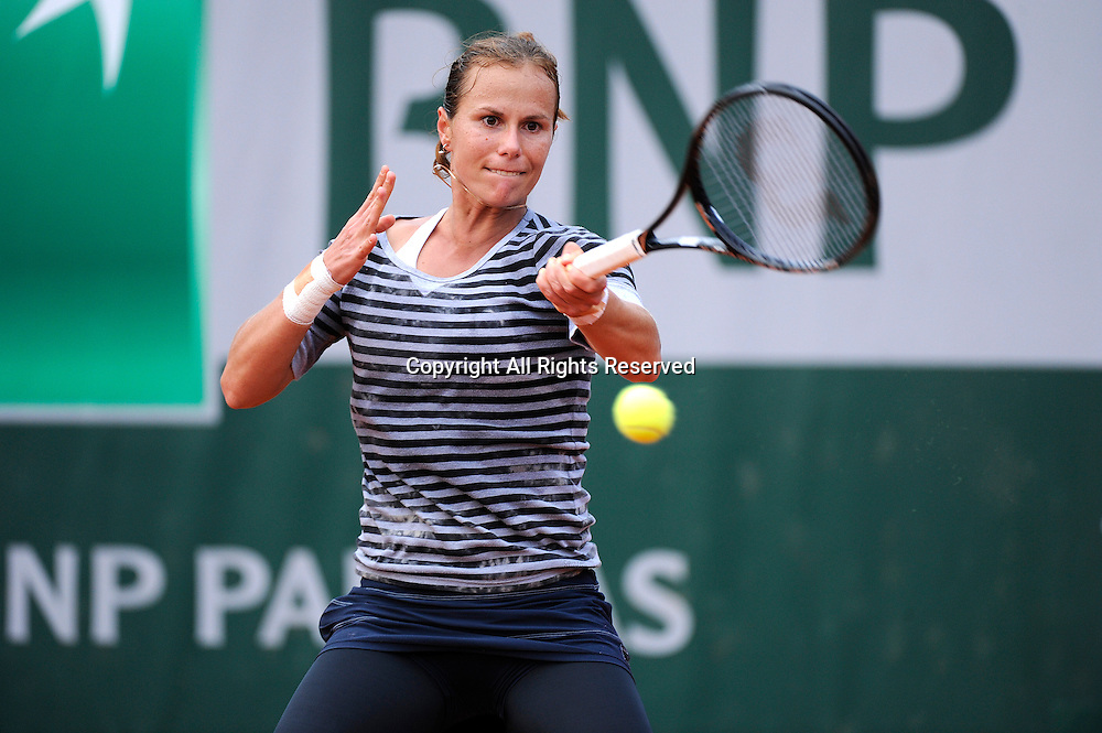 31.05.2013 Paris, France. Varvara Lepchenko of the United States of America in action during the match between Angelique Kerber of Germany and Varvara Lepchenko of the United States of America in the third round of the French Open from Roland Garros.