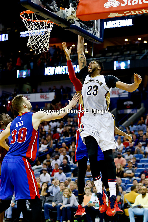 Mar 1, 2017; New Orleans, LA, USA; New Orleans Pelicans forward Anthony Davis (23) dunks over Detroit Pistons forward Jon Leuer (30) during the second half of a game at the Smoothie King Center. The Pelicans defeated the Pistons 109-86. Mandatory Credit: Derick E. Hingle-USA TODAY Sports
