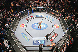 August 27, 2011; Rio De Janiero, Brazil; Anderson Silva (yellow/black trunks) celebrates his knockout win over Yushin Okami (white trunks) to retain his UFC Middleweight Championship at UFC 134 in Rio De Janiero.