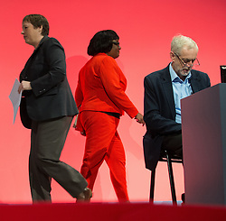 © Licensed to London News Pictures . 28/09/2015 . Brighton , UK . L-R MARIA EAGLE , DIANNE ABBOTT and JEREMY CORBYN at the 2015 Labour Party Conference . Photo credit : Joel Goodman/LNP