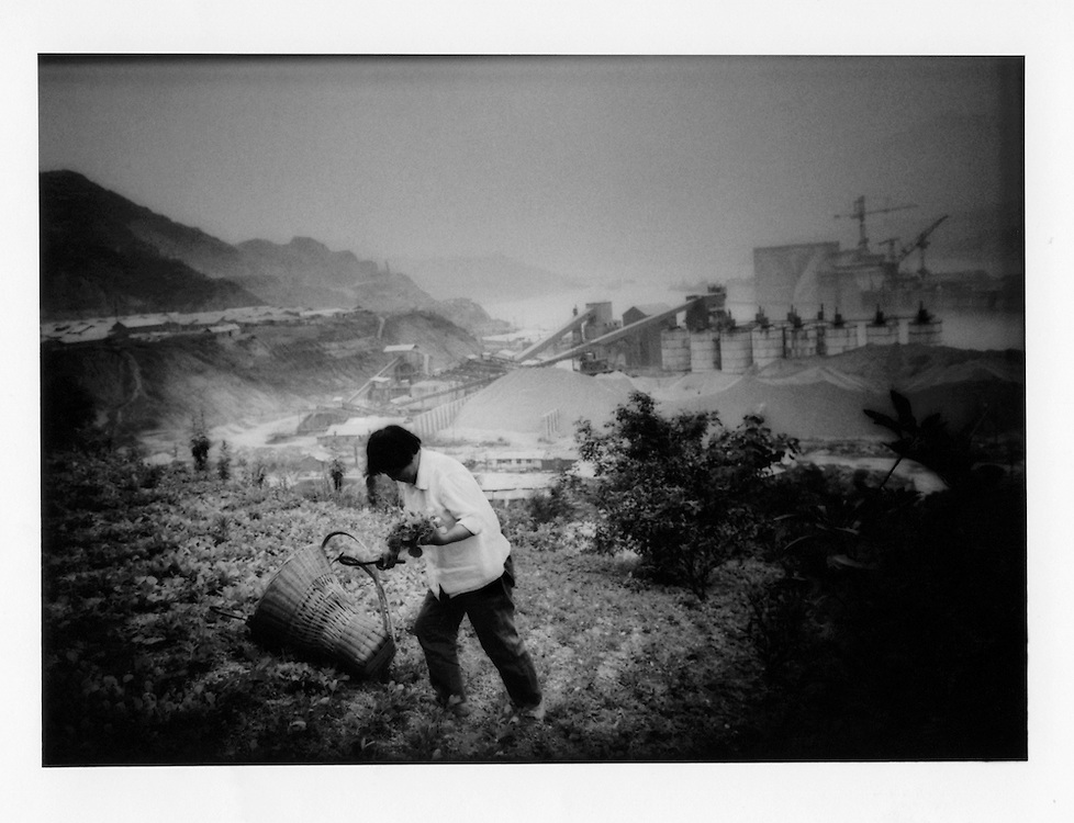 Woman tends a field above the Three Gorges Dam constructions site, Hubei Province, China. 1997