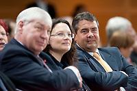 """14 SEP 2010, BERLIN/GERMANY:<br /> Michael Sommer (L), DGB Bundesvorsitzender, Andrea Nahles (M), SPD Generalsekretaerin, und Sigmar Gabriel (R), SPD Parteivorsitzender, SPD Veranstaltung """"Die Finanztransaktionssteuer: Ursachen der Krise bekaempfen - Verursacher an den Kosten beteiligen"""", Willy-Brandt-Haus<br /> IMAGE: 20100914-01-034<br /> KEYWORDS: Konferenz, Finanzmarkt"""