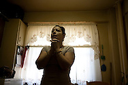 Omayra Gomez has mold in the bathroom and in her kitchen. Her 13-year-old daughter has asthma. Omayra has leukemia. Wagner Houses, Lower East Side, NY, 2012.