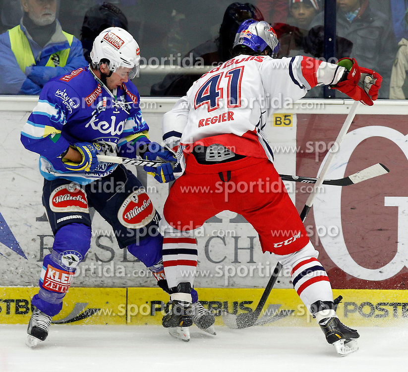 11.01.2013, Stadthalle, Villach, AUT, EBEL, EC VSV vs EC Red Bull Salzburg, 40. Runde, im Bild Marco Pewal (VSV,#36) und Steven Regier (EC RBS,#41) // during the Erste Bank Icehockey League 40th Round match between EC VSV vs EC Red Bull Salzburg at the City Hall, Villach, Austria, 2013/01/11, EXPA Pictures © 2013, PhotoCredit: EXPA/ Oskar Hoeher