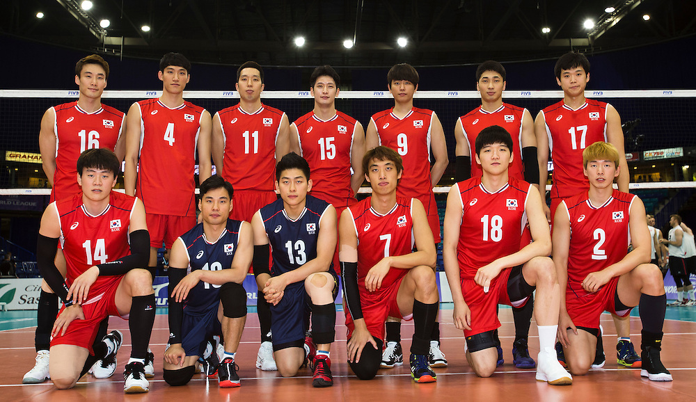Korea poses for a team photo prior to a World League Volleyball match versus Canada at the Sasktel Centre in Saskatoon, Saskatchewan Canada on June 24, 2016.