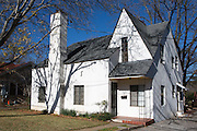 White clap-board house in Fredericksburg, Texas